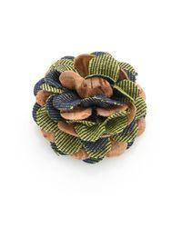 Hook + Albert   Brown Cork Flower Lapel Pin   Lyst