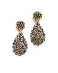 Oscar de la Renta | Black Classic Crystal Teardrop Clip Earrings | Lyst