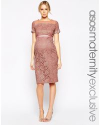 ASOS | Bodycon Dress In Lace With Chiffon - Pink | Lyst
