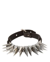 Emanuele Bicocchi | Metallic Large Spike Silver & Leather Bracelet for Men | Lyst