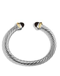 David Yurman | Metallic Cable Classics Bracelet With Black Onyx And 14k Gold, 7mm | Lyst