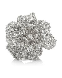 Alexander McQueen - Metallic Silver-Tone Swarovski Crystal Ring - Lyst