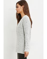 Forever 21 - Natural Loop Knit V-neck Sweater - Lyst