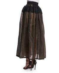 J. Mendel - Black Pleated Sheer Silk Organza Skirt - Lyst