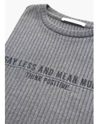 Mango | Gray Printed Ribbed Dress | Lyst