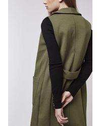 TOPSHOP - Natural Shawl Collar Sleeveless Jacket - Lyst