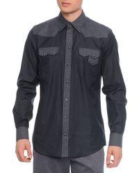 Dolce & Gabbana - Gray Pinstripe-Panel Western Shirt for Men - Lyst