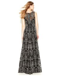 Vera Wang - Black Sleeveless Contrast Embroidered Gown - Lyst