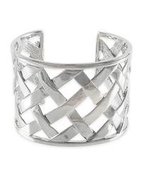 Kenneth Jay Lane | Metallic Polished Silver Basketweave Cuff | Lyst