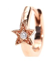 Stone | Metallic Mini Créole Tiny Hoop Small Star 18kt Rose Gold Earring with White Diamond | Lyst