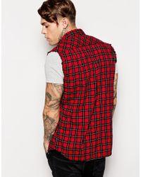 DIESEL - Red Sleeveless Shirt S-Neha Check for Men - Lyst