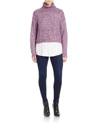 Kensie | Purple Mixed-media Turtleneck Sweater | Lyst