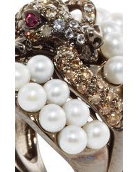 Wendy Yue | Multicolor Diamond Lizard And Pearl Ring | Lyst