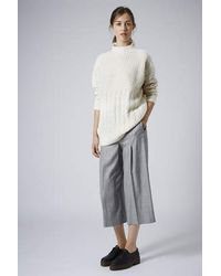 TOPSHOP | Natural High Neck Cable Sweater | Lyst