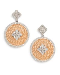 Freida Rothman | Metallic Iconic Large Two-tone Hammered Floral Drop Disc Earrings | Lyst