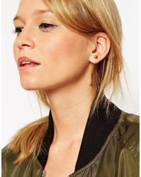 ASOS - Metallic Metal Ball Extended Through Earrings - Lyst