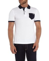 Armani Jeans | White Regular Fit Contrast Pocket Polo Shirt for Men | Lyst