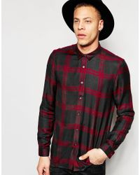 ASOS | Multicolor Viscose Shirt In Burgundy And Grey Check In Regular Fit for Men | Lyst