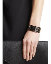 Halcyon Days | Black Harlequin Rose Gold Plated Bangle | Lyst