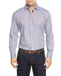 Peter Millar | Blue 'mini Tattersall' Regular Fit Sport Shirt for Men | Lyst