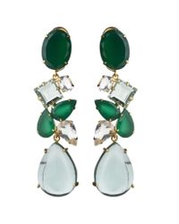 Bounkit | Green Onyx, Green Amethyst, And Clear Quartz Earrings | Lyst