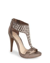 Jessica Simpson - Brown 'cydney' Embellished T-strap Sandal - Lyst
