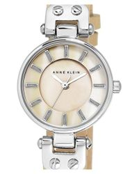 Anne Klein - Natural Mother-of-pearl Dial Leather Strap Watch - Lyst