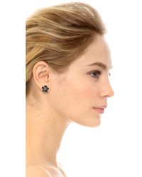 kate spade new york - Metallic Graceful Floral Large Stud Earrings French Navycleargold - Lyst