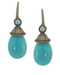 Carolee - Blue Turquoise Pearl Drop Earrings - Lyst