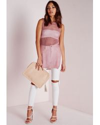 Missguided - Loose Knit Cut Out Vest Pink - Lyst