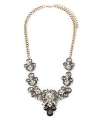 Forever 21 - Black Rhinestone Flower Statement Necklace - Lyst