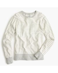 J.Crew - Gray Reverse Terry Sweatshirt In Stripe for Men - Lyst