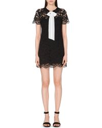Sandro | Black Pussybow Lace Dress | Lyst