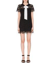 Sandro - Black Pussybow Lace Dress - Lyst