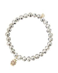 Sydney Evan   Metallic 6Mm Faceted Silver Pyrite Beaded Bracelet With Mini Yellow Gold Pave Diamond Disc Charm (Made To Order)   Lyst