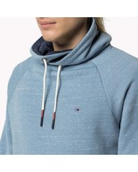 Tommy Hilfiger | Blue Cotton Blend Funnel Neck Sweatshirt for Men | Lyst
