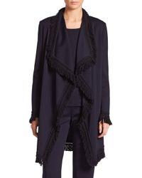 St. John   Blue Mila Fringed Wool-blend Knit Topper   Lyst