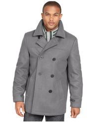 Tommy Hilfiger - Gray Melton Wool-Blend Peacoat for Men - Lyst