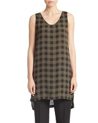 Eileen Fisher | Brown Printed Silk Tunic | Lyst