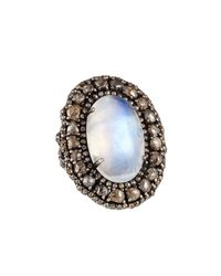 Bavna | Metallic Rainbow Moonstone & Champagne Diamond Cocktail Ring | Lyst