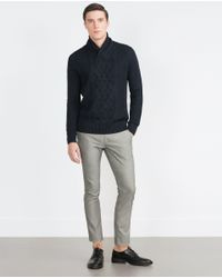 Zara | Blue Cable Stitch Sweater for Men | Lyst