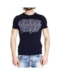 Fendi - Blue T-Shirt Half Sleeve With Print Scritta Mosaico for Men - Lyst