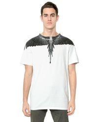 Marcelo Burlon - White Cotton Jersey Alas Print Tshirt for Men - Lyst