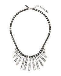 TOPSHOP - Black Crystal Rhinestone Drop Necklace - Lyst
