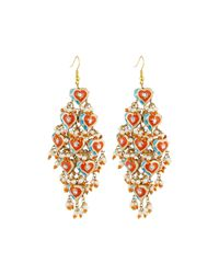 Chamak by Priya Kakkar | Orange Diamond-shape Tiered Earrings | Lyst