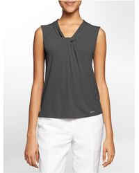 Calvin Klein - Gray White Label Drape Knot Sleeveless Top - Lyst