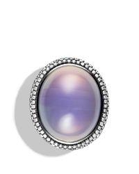 David Yurman - Metallic Dy Signature Oval Ring with Lavender Moon Quartz Diamonds - Lyst