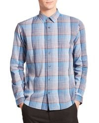 Vince | Blue Melrose-fit Plaid Sportshirt for Men | Lyst