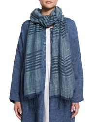 Eskandar - Blue Striped Hand-woven Linen Scarf - Lyst