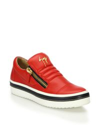 Giuseppe Zanotti | Red Leather Side-zip Sneakers | Lyst